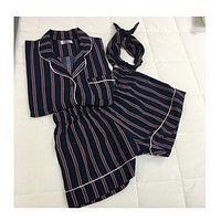 Plus Size 2 Colors 2017 Summer Short-sleeved Pajamas Female Striped Three-piece Shorts Suit Tracksuit Women Sleepwear Loose Hot