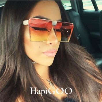 HAPIGOO Vintage Oversized Square Rimless Sunglasses Women Men Mirror Flat top Big Glasses Brand Designer Sun Glasses For Female