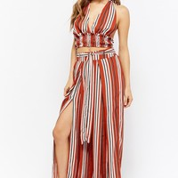Striped Halter Crop Top & Pants Set