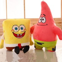 Sponge Bob Creative new 25cm Spongebob And 26 cm Patrick Plush Toy Soft Cartoon Toy for Kids Doll Birthday Gift Home Decoration