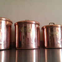 Vintage Copper Kitchen Canisters/ Copper Canisters/ Copper Nesting Canisters/ Coffe, Sugar, Flour, Sugar Canisters
