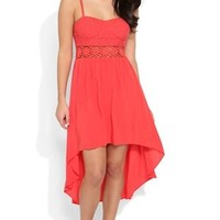 High Low Dress with Lace Bodice and Daisy Crochet Illusion Waist
