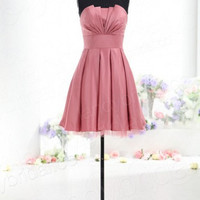 Strapless sleeveless mini A-line satin pleated bow lace up back Cocktail/Evening/Party/Homecoming/cocktail dress/Bridesmaid/Formal Dress