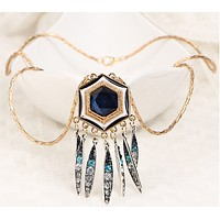 Bohemian tassel necklace long retro personality exaggerated hexagonal drip diamond bracelet chain