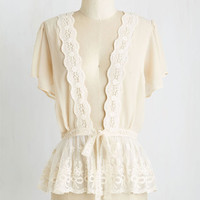 Vintage Inspired Mid-length Short Sleeves To Quiche Their Own Cardigan in Cream