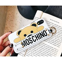 Moschino Tide brand bear print wristband iPhone8plus mobile phone case cover white