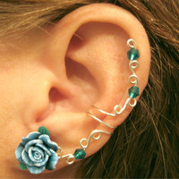 "Cartilage Ear Cuff ""Summer Rose"" Teal Wedding Prom Bridal No Piercing Helix Conch"
