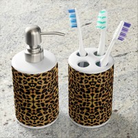 Leopard Print Animal Skin Bathroom Set