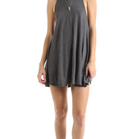 GREY DEEP CUT TANK DRESS