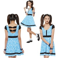 """Licensed cool NEW """"BUBBLES"""" POWERPUFF GIRLS Blue White Bubble Print Dress HOT TOPIC EXC. JRS."""