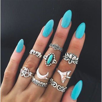 New Arrival Jewelry Shiny Stylish Gift Hot Sale Vintage Totem 3D Turquoise Ring [11343019215]