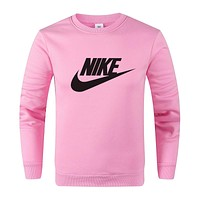 Nike Fashion Women Men Casual Print Long Sleeve Top Sweatshirt Sportswear Pink
