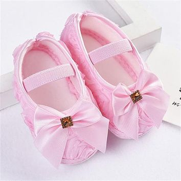 2018 Toddler Kid Baby Girl Rose Bowknot Elastic Band Newborn Walking Shoes For Baby Shoes Kids Party 1204