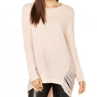Distressed Knit Oversized Raglan Sleeve Pullover