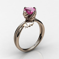 Swan 14K Rose Gold 1.0 Ct Pink Sapphire Fairy Engagement Ring R1029-14KRGPS