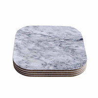 "Chelsea Victoria ""Marble"" Blue Black Coasters (Set of 4)"