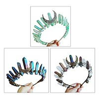 Boho Vintage Witch Tiara Faux Raw Crystal Headband Alloy Moon Angel Aura Crown