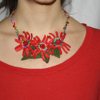 Crochet Necklace Red Gerbera Daisies Flowers