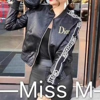 """Dior"" Women Fashion Letter Logo PU Skin Short Section  Cardigan Zip Jacket Long Sleeve Coat"