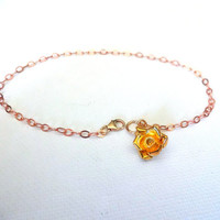 Karen Hill Tribe Gold Vermeil Rose Charm & 14k Rose Gold Fill Chain Mixed Metals Anklet or Bracelet Modern Romatic Gift for Her Personalized