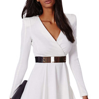 White Plunging Neck A-Line Dress