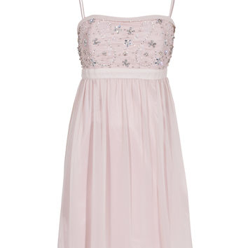 YOUNG COUTURE BY BARBARA SCHWARZER Rhinestone Flower Nude Bejeweled cocktail dress - What's new
