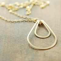 Layered Gold Teardrop Necklace, Modern Geometric Metalwork Jewelry, 14k Gold Fill Layering Necklace