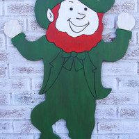 "LEPRECHAUN St. Patty's Day Decoration St. Patrick's- Huge 42"" wood shaped sign - large wall art - celtic"