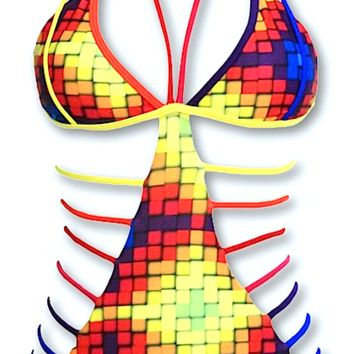 Freddie Cut Out Rainbow Ombre Monokini - Multi Color