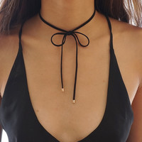 Black Suede Bow Choker