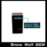 Original Snow Wolf 200W Box Mod 2015 Vape Ecig Battery 18650 Mod Electronic Cigarettes Mods Variable 5-200W Ego Battery VS Sigelei Kanger