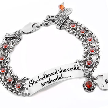 Engraved Quote Bracelet with Personalized Monogram Initial