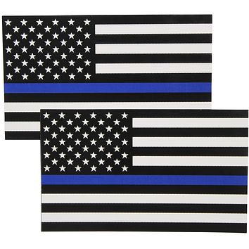 Fine Line Flag Auto Decals Thin Blue Line Flag Sticker 3x5 in. Black White and Blue (2-Pack) 2-pack