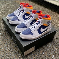 Air Jordan 1 Mid Gs Laser Orange Royal Blue sneakers basketball shoes