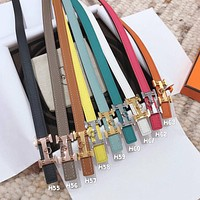 Hermes Women Classic Fashion Smooth Buckle Leather Belt