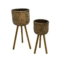 S/2 Bamboo Planters On Stands,Black Wash