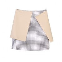 Checked mini skirt with contrast panel