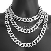 "Quavo 14k Silver 16mm 16""- 30"" Miami Cuban Link Choker Chain Necklace"
