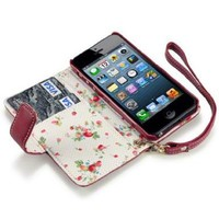 iPhone 5/5S Premium Faux Leather Wallet Case with Floral Interior (Red)