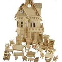 BOHS Toy Gothic Dolls House Wooden Scale Models 3D Puzzle DIY Play Doll House 1 Sets=1*House + 34*pcs Furniture ,30*18*45CM