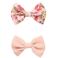FOREVER 21 Floral Hair Bow Set Pink/Multi One