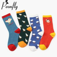 PEONFLY Women Harajuku Socks Cute Cow Goose Chicken Sheep Pattern Socks Animal Knee Socks Lovely Funky Female Cotton Funny Sock