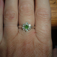 Sale Round Russian Chrome Diopside and Green Sapphire Ring Free Shipping