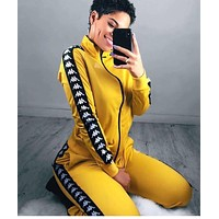 Kappa Women Fashion Embroidery Cardigan Jacket Coat Pants Trousers Sweatpants