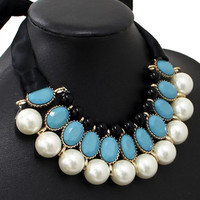 Turquoise Faux Pearl Layered Tie Choker Necklace
