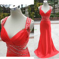 Latest dark watermelon chiffon prom dresses with sequins,sexy v-neck elegant evening gowns long,unique beaded dress for holiday party.