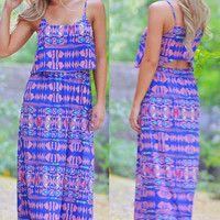 Everly Afternoon Stroll Maxi Dress - Blue
