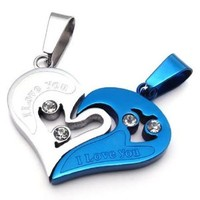KONOV 2pcs Mens Womens Couples Heart Stainless Steel Pendant Love Necklace, 18 & 22 inch Chain, Blue
