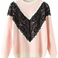 Pink Lace Embroidered Knit Long Sleeve Sweater