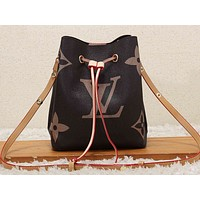 LV Fashion Hot Selling Lady's Full Printed Single Shoulder Bag Shopping Bag Beige rope